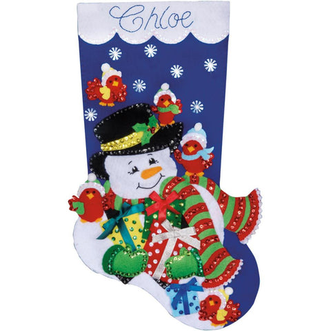 "Snowman & Cardinals Stocking Felt Applique Kit-18"" Long"