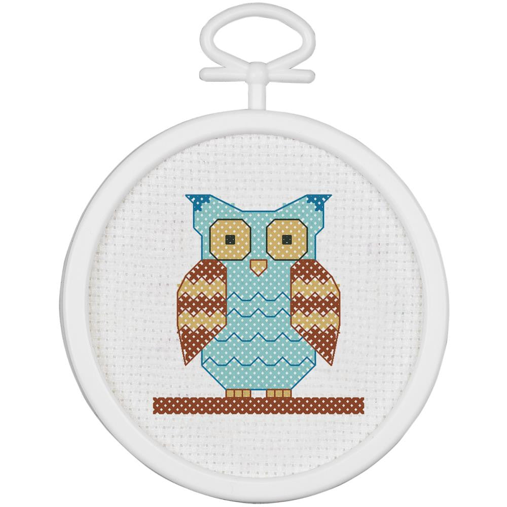"Owl Mini Counted Cross Stitch Kit-2.5"" Round 18 Count"