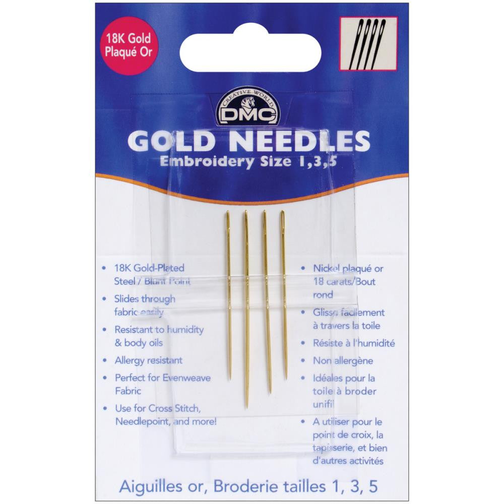 Gold Embroidery Hand Needles-Size 1/5 4/Pkg