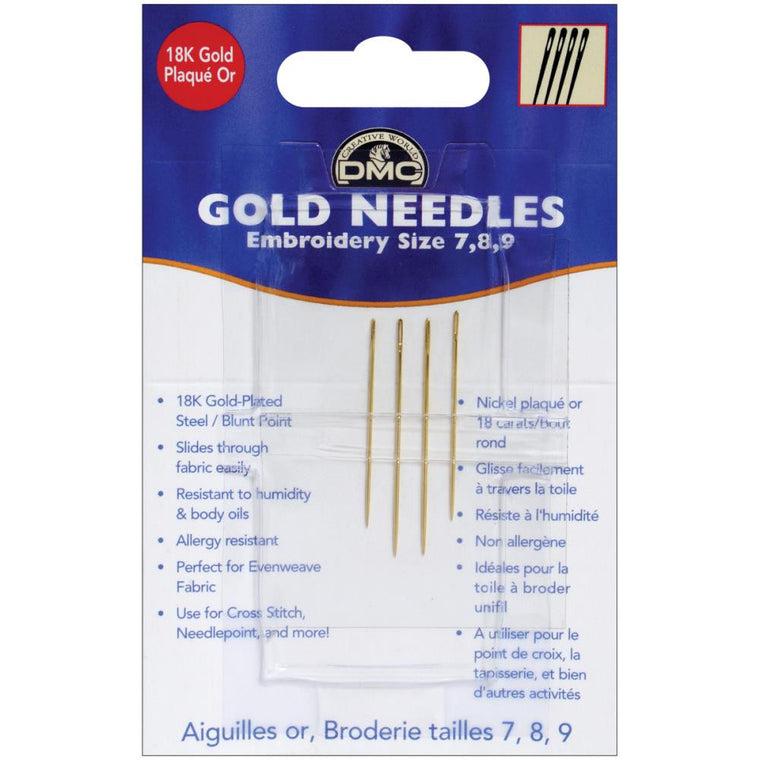 Gold Embroidery Hand Needles-Size 7/9 4/Pkg