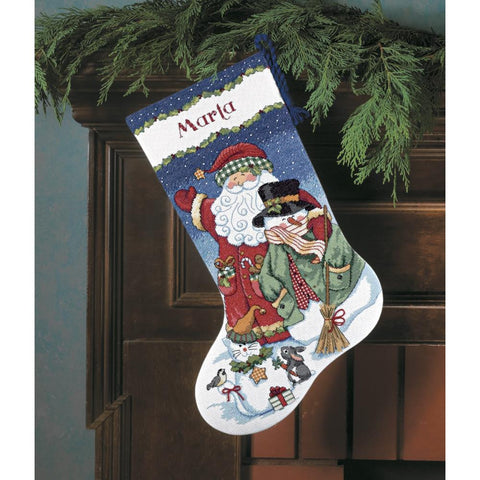 "Santa & Snowman Stocking Counted Cross Stitch Kit-16"" Long 14 Count"
