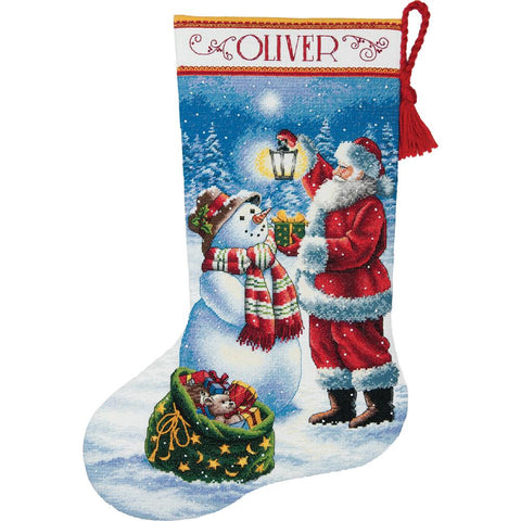 "Holiday Glow Stocking Counted Cross Stitch K-16"" Long 18 Count"