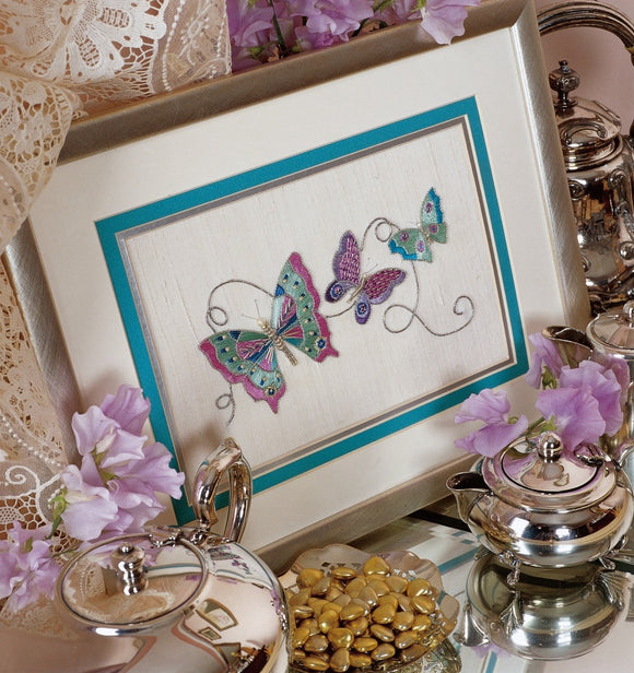 Silver Butterflies Goldwork Embroidery Kit