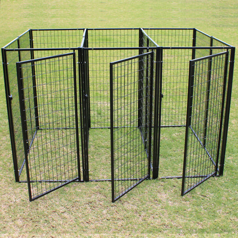 Three Dog Kennel Pet Puppy Heavy Duty Enclosure Pen Playpen Fence with Divider