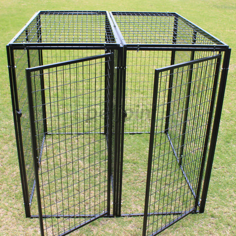 Two Dog Kennel with Divider Pet Enclosure Heavy Duty Pen