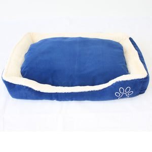 Pet Dog Cat Bed Home - Soft Cushion Mat - Faux Suede Fleece - Blue - PetJoint