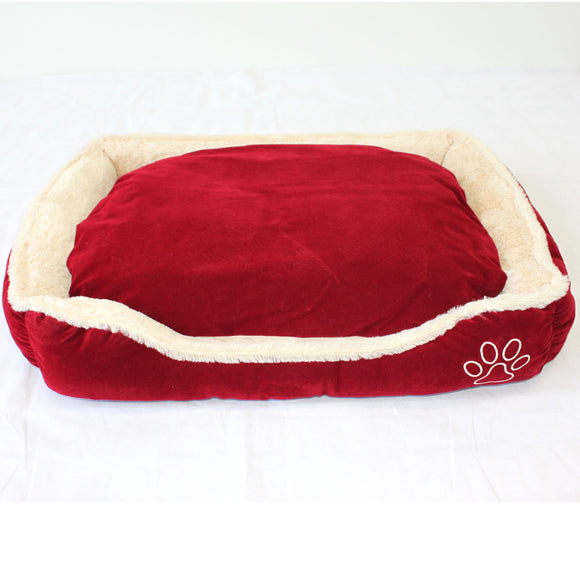 Pet Dog Cat Bed Home - Soft Cushion Mat - Faux Suede Fleece - Dark Red - PetJoint