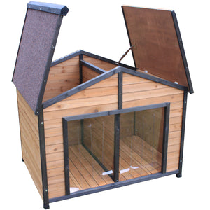 XXL Double Dog Twin Door Extra Large Two Pet Kennel Wooden House - PetJoint