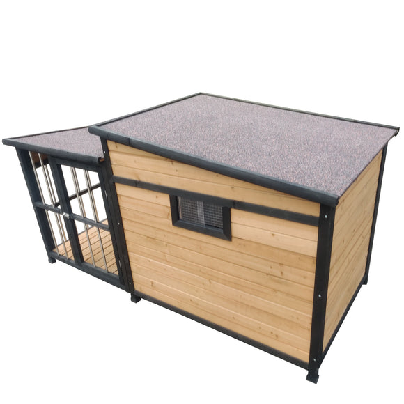 Extra Large Wooden Dog Kennel with Balcony, Door, Storage, Window