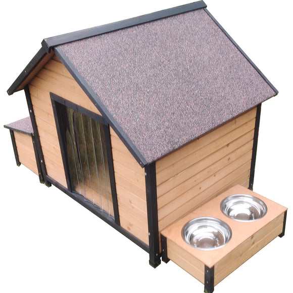 XL Extra Large Wooden Outdoor Kennel Peak Roof + Food Bowl Storage Box