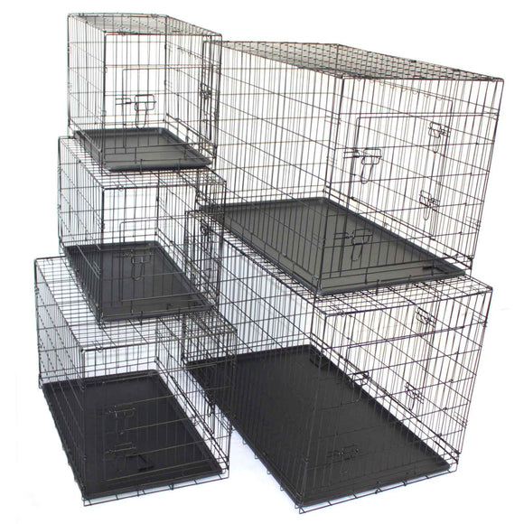 Pet Dog Crate Foldable Metal Cage Kennel Portable Pup Cat Rabbit House