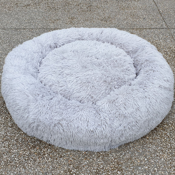Pet Calming Bed Round Faux Fur Plush Dog Cat Mattress