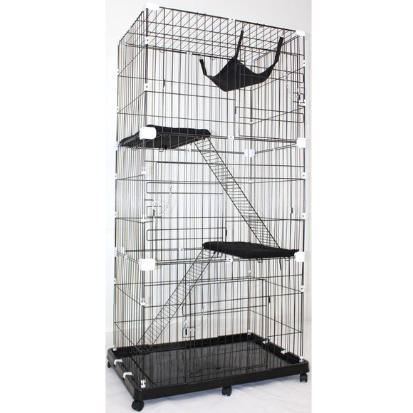 Large Multi Tier Cat Crate Portable Pet Wire Cage Enclosure