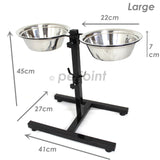 Large Raised Pet Dog Food Bowls Adjustable Height for Boxer - PetJoint