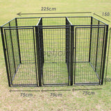 Modular 3 Dog Kennel Super Heavy-Duty Steel Pet Outdoor Run