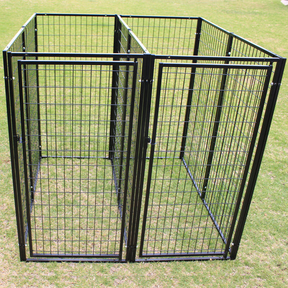 Two Dog Kennel Enclosure with Divider and 2 Gates Heavyduty Steel