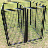Two Dog Kennel Enclosure with Divider and 2 Gates Heavyduty Steel - PetJoint