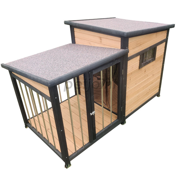 Large Wooden Dog Kennel Crate Door Lock, In-built Storage, Window