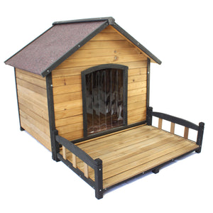 Dog Kennel House Extra Large + Veranda Wooden Pet Puppy Labrador Home - PetJoint