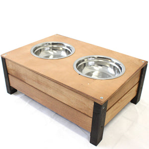 Wooden Food Bowl Holder + Two 18cm Stainless Steel Bowls - PetJoint