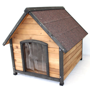 Large Wooden Dog House Kennel Indoor Outdoor Puppy Pet Home Peak Roof - PetJoint