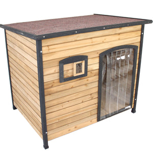 Flat Roof XXL Wooden Dog Kennel Large Greyhound German Shepherd House - PetJoint