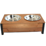 XL Wooden Food Bowl Holder + Two 23cm Extra Large Bowls - PetJoint