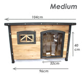 Dog Kennel Flat Roof Medium Wooden Pet House Home - Indoor / Outdoor - PetJoint