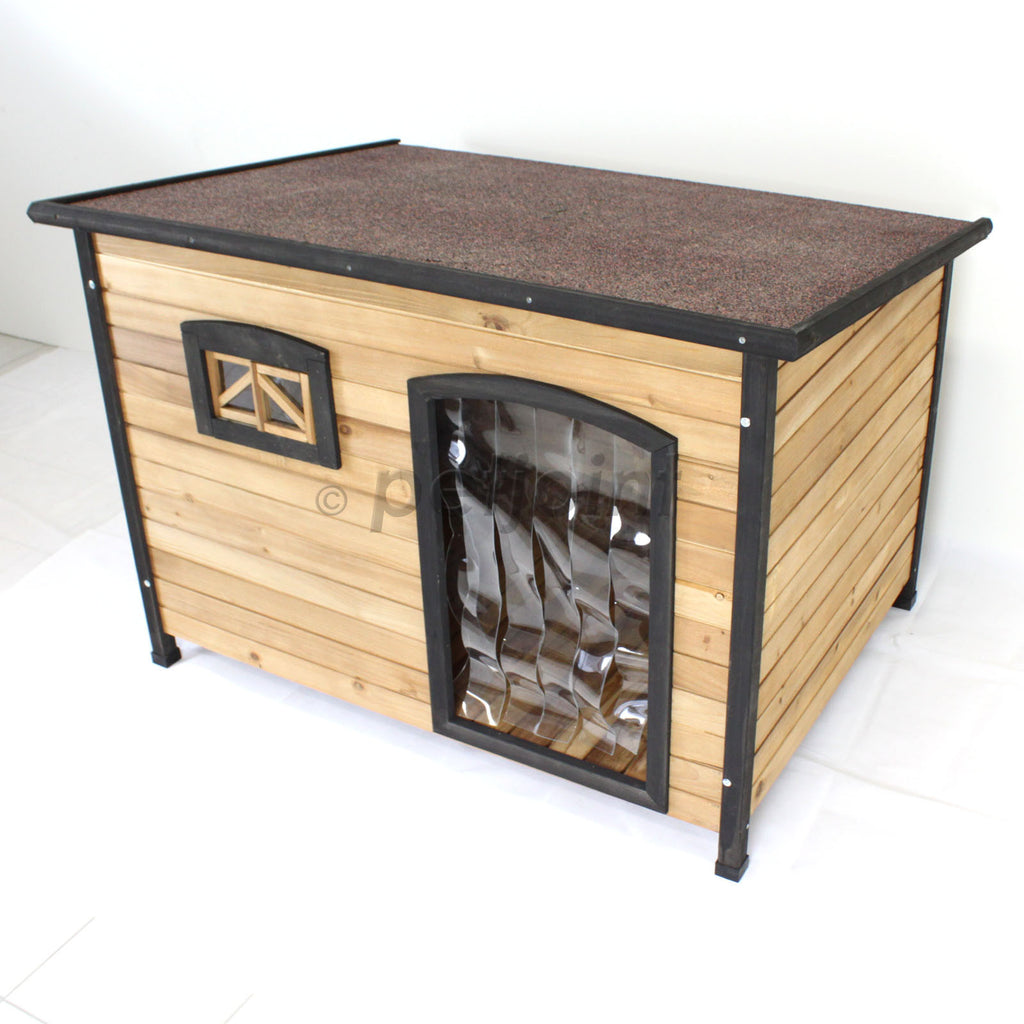 Flat Roof Xl Wooden Pet Dog Kennel House Extra Large