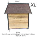 XL Extra Large Wooden Outdoor Kennel Peak Roof + Food Bowl Storage Box - PetJoint