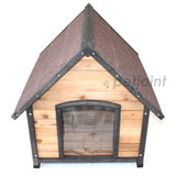 Wooden Pet Dog House Medium Kennel Indoor Outdoor Puppy Home Peak Roof - PetJoint