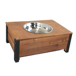 Raised Dog Food Bowl Stainless Steel 23cm With Wooden Holder - PetJoint
