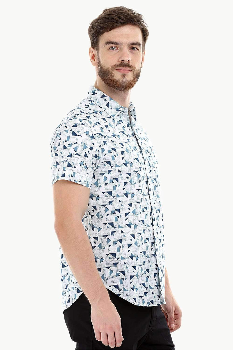 White Geometric Print Holiday Shirt