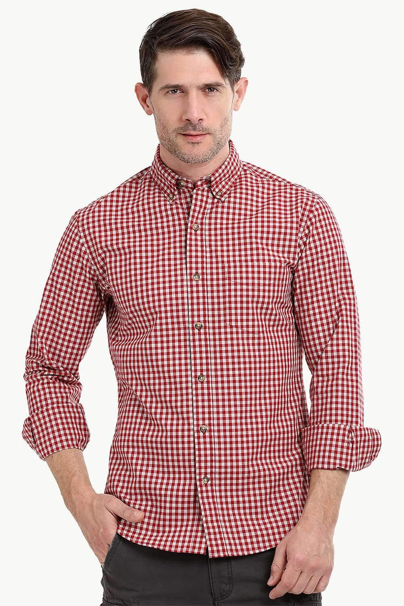 Men's Red Gingham Check Shirt