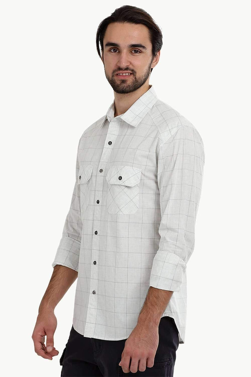 Men's White Light Check Shirt