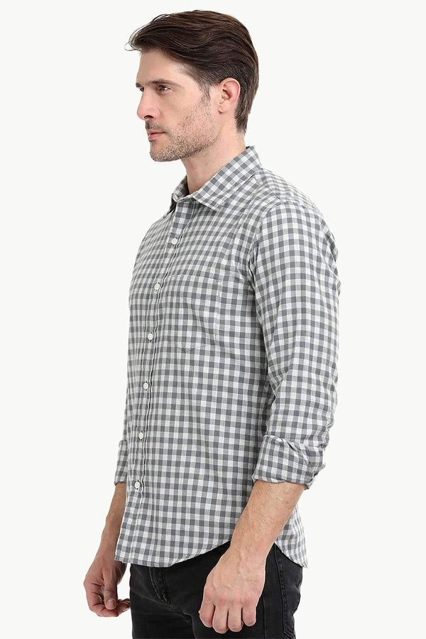 Men's Grey Gingham Check Shirt