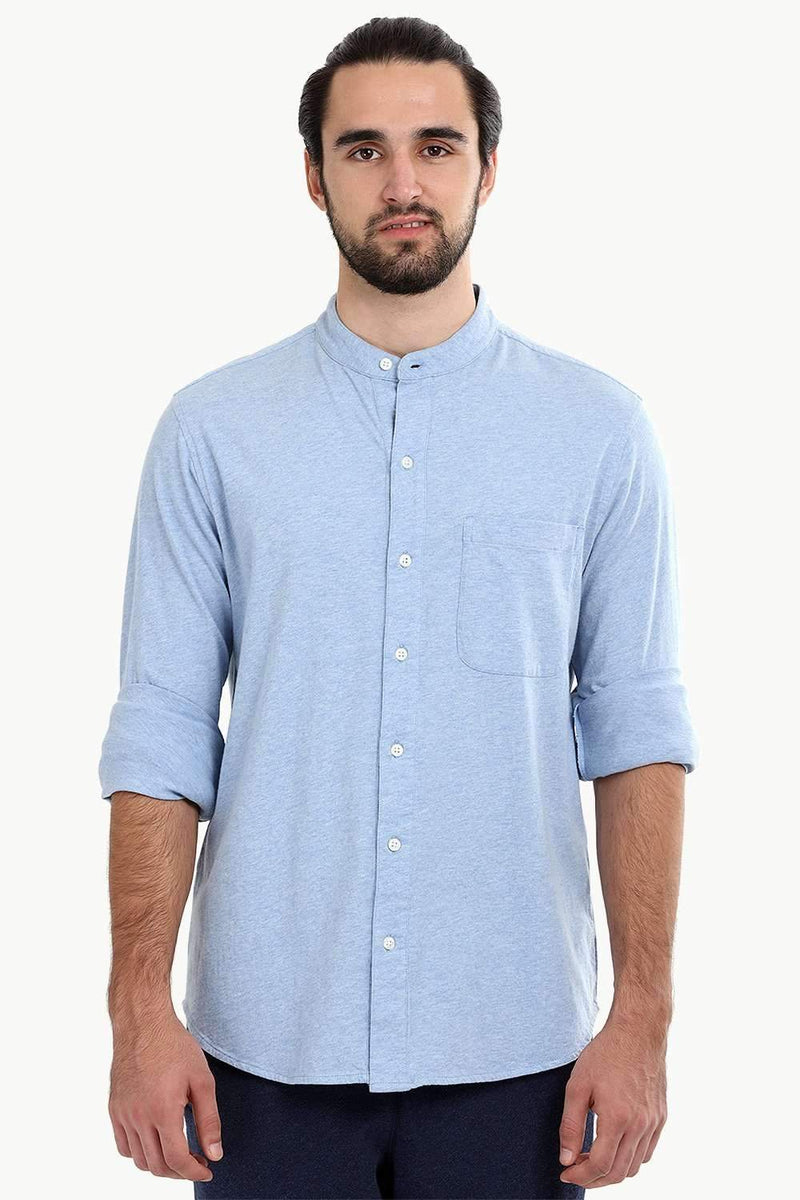 Men's Heather Baby Blue Knit Shirt