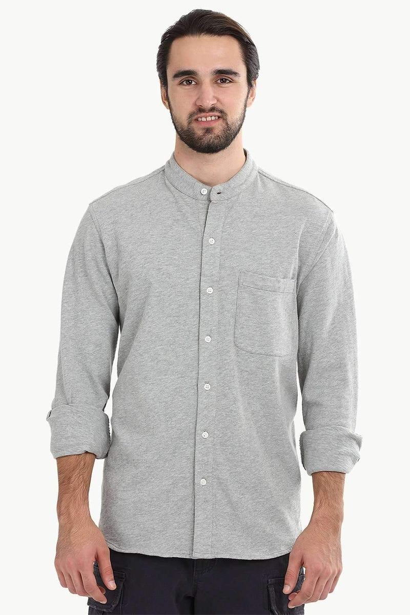 Men's Heather Grey Knit Mandarin Shirt