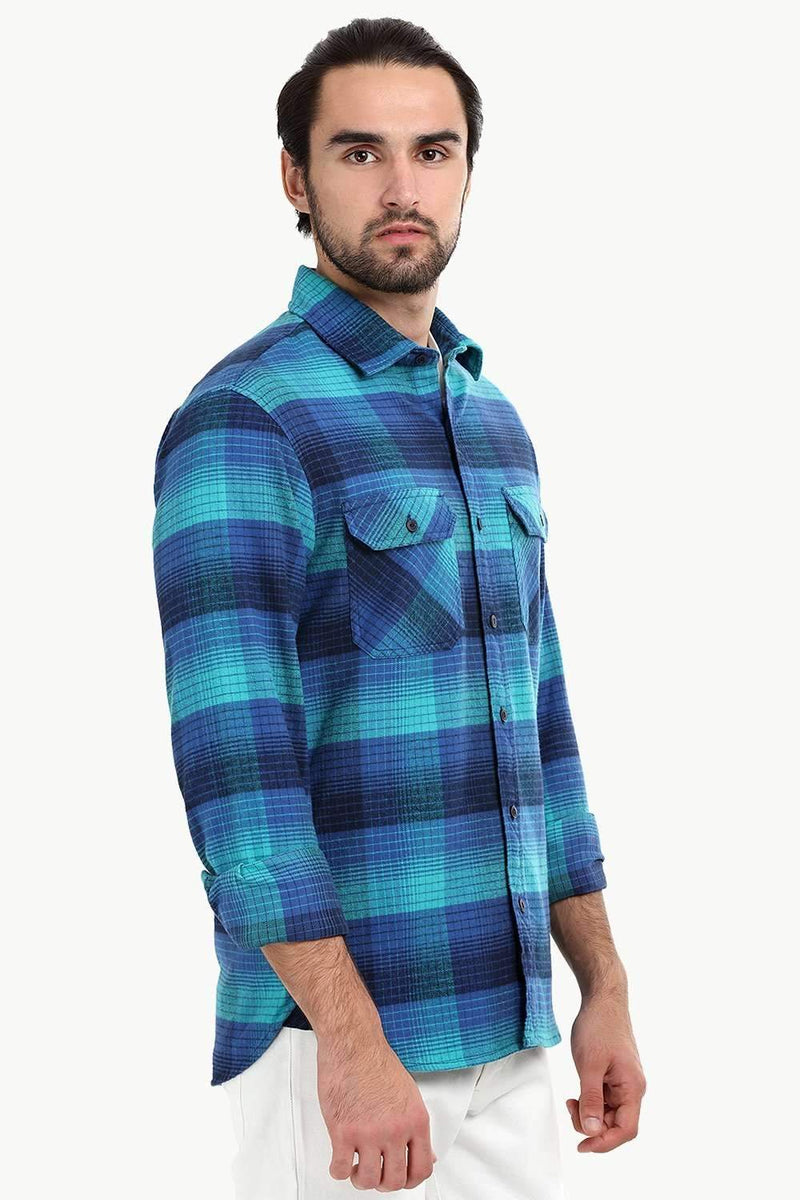 Men's Mint Blue Flannel Check Shirt