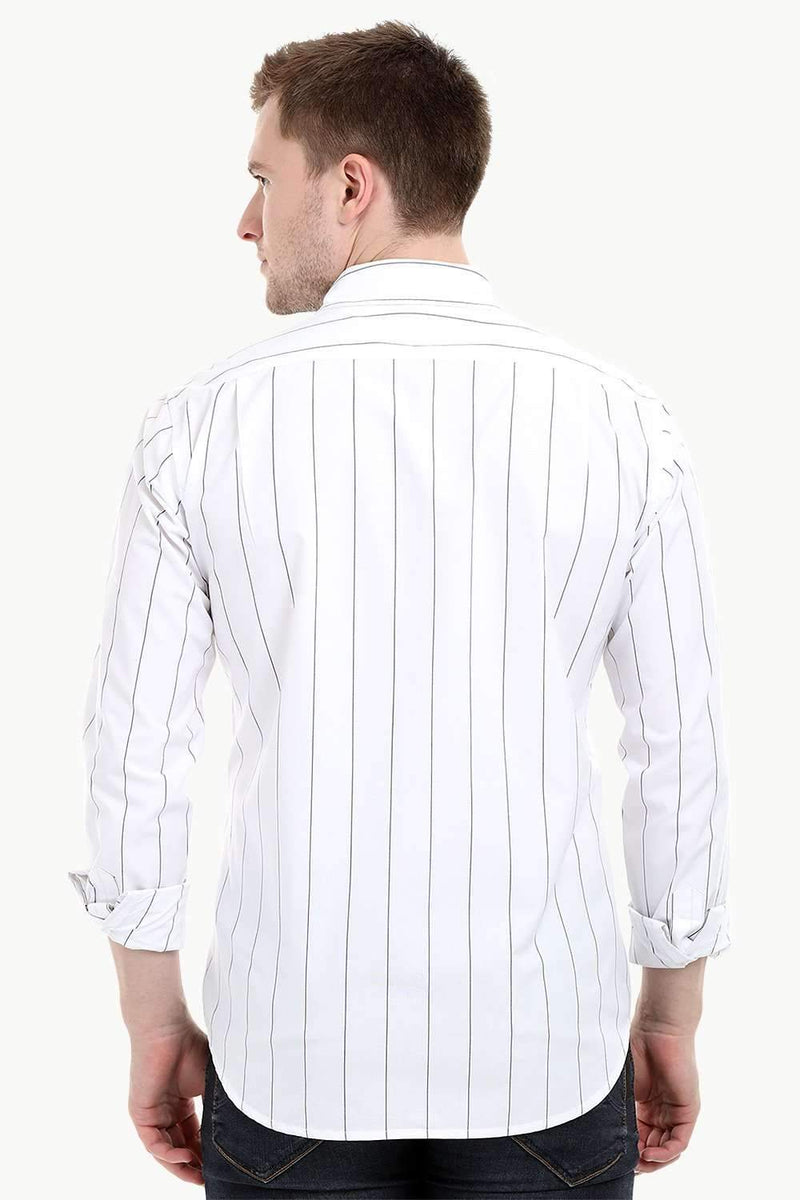 Men's Long Sleeve White Stripe Print Shirt