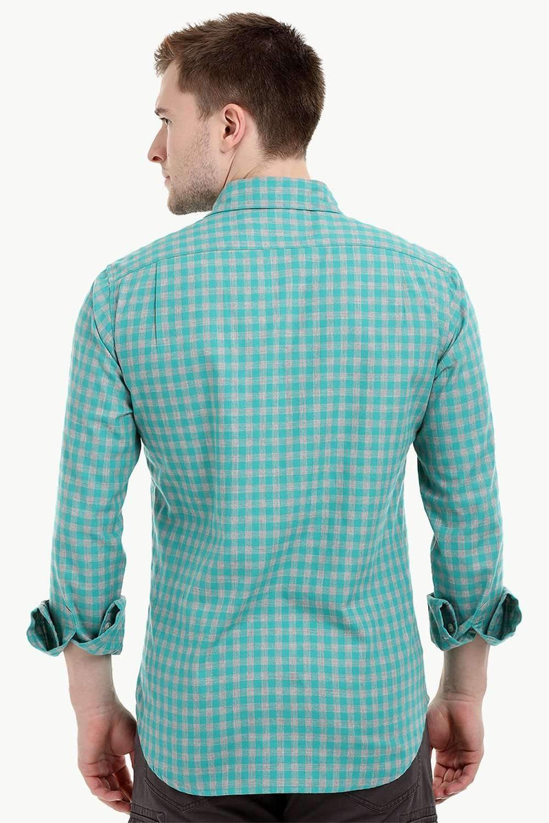 Men's Long Sleeve Green Gingham Shirt