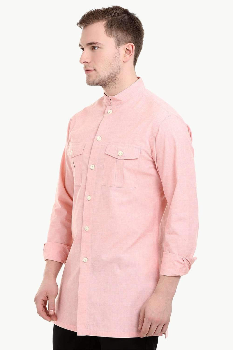 Men's Nehru Collar Short Linen Baby Pink Kurta