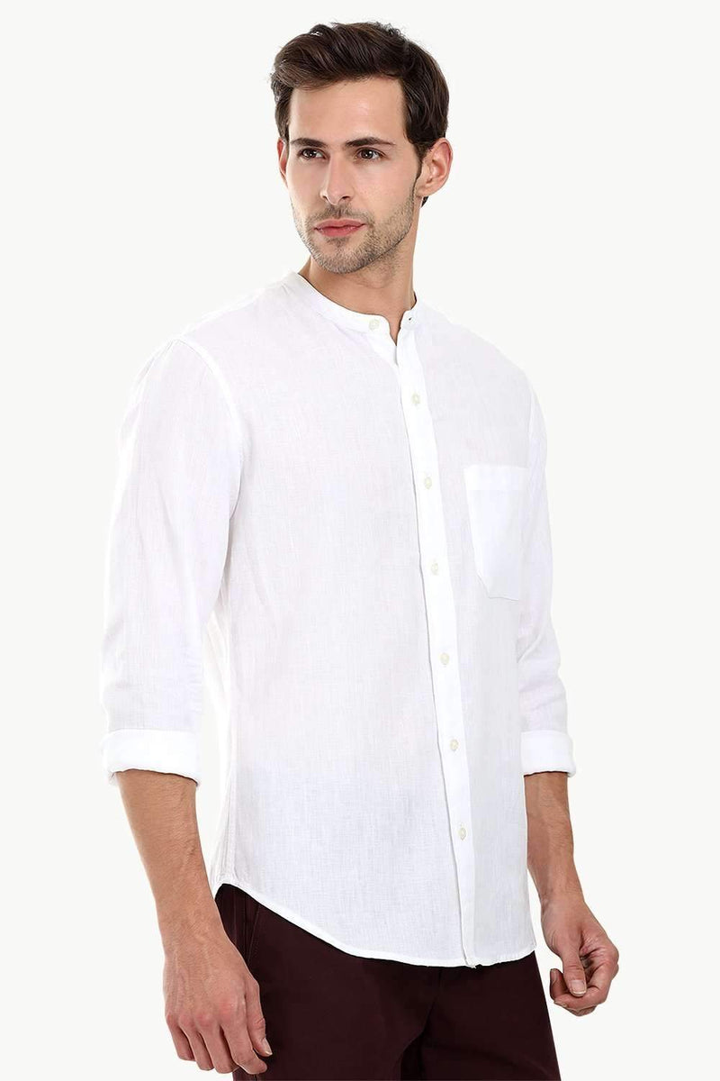 Mandarin Collar White Linen Shirt