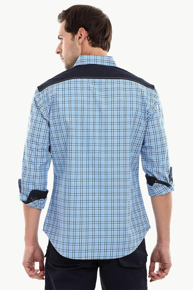 Casual Denim Glen Plaid Shirt