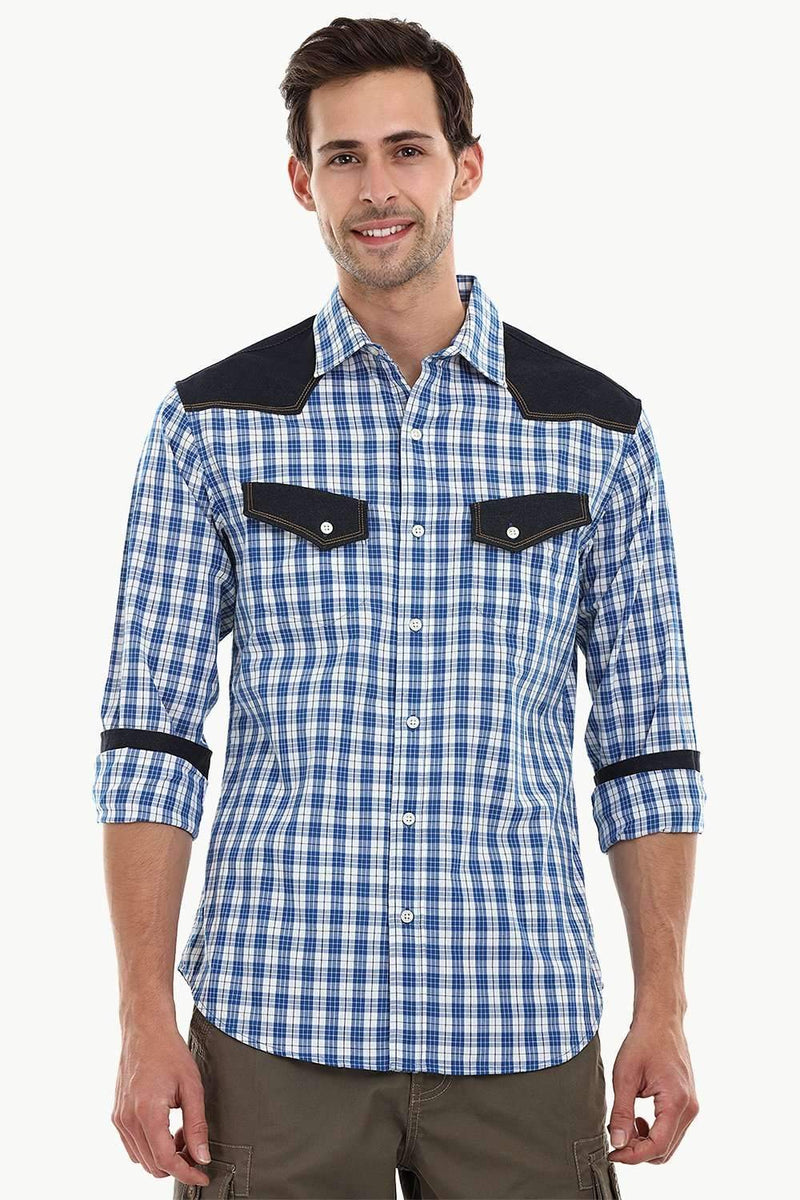Casual Denim Plaid Check Shirt