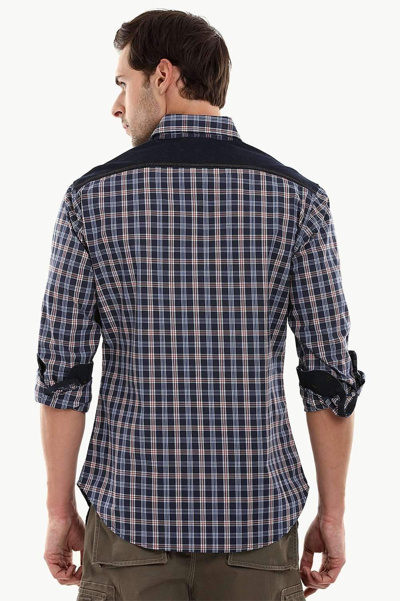 Casual Denim Plaid Cotton Check Shirt