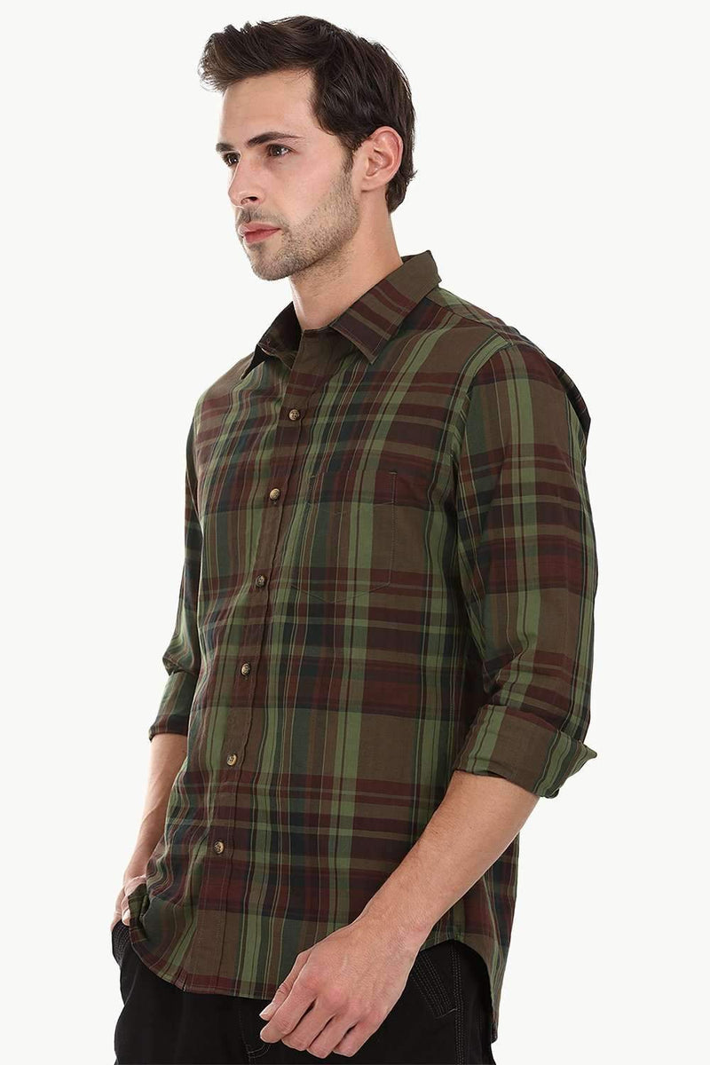 Crocodile Green Checked Plaid Shirt