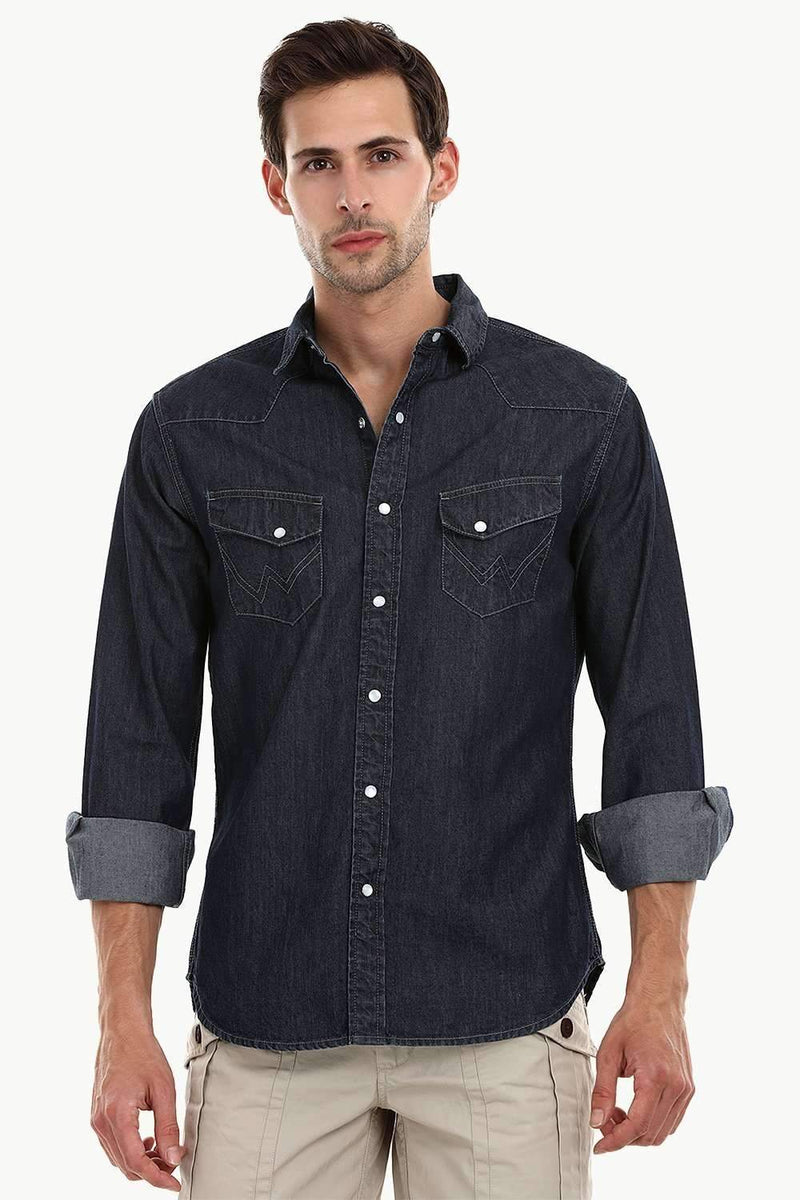 Casual Snap Button Denim Shirt