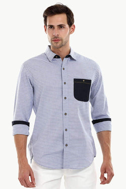 Men's Casual Denim Patched Stripe Shirt