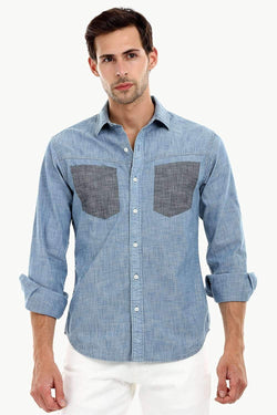 Men's Contrast Pockets Casual Denim Shirt